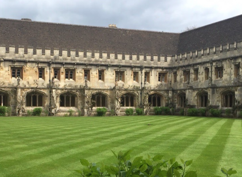 Manicured lawn in front of an old building