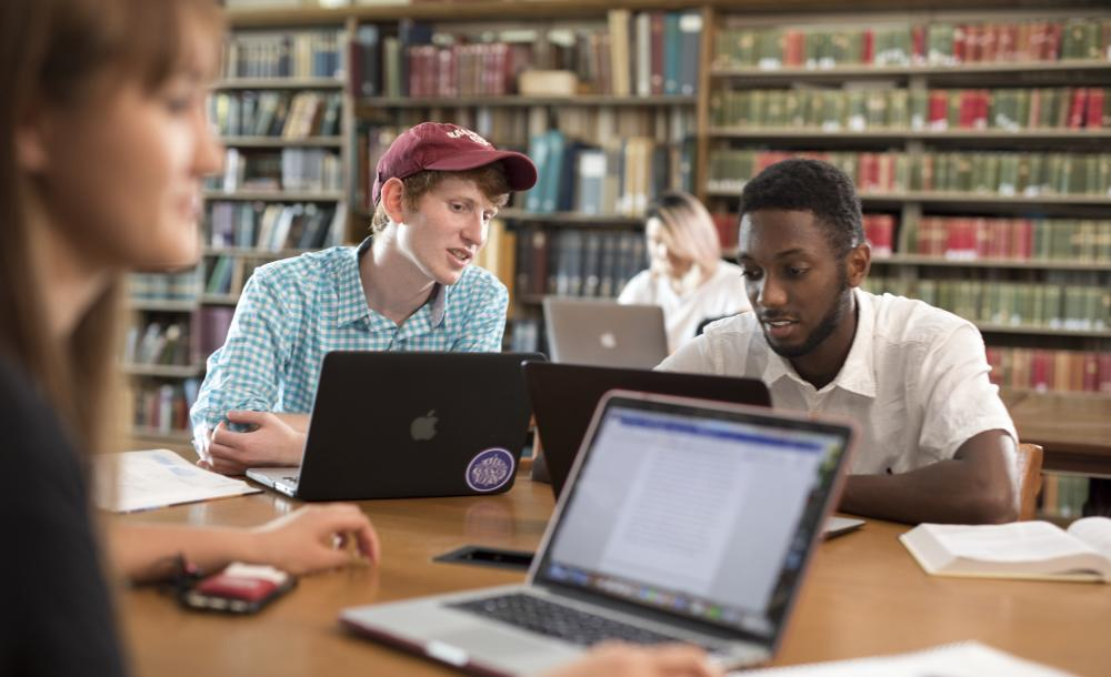 Two students studying in the library with laptops