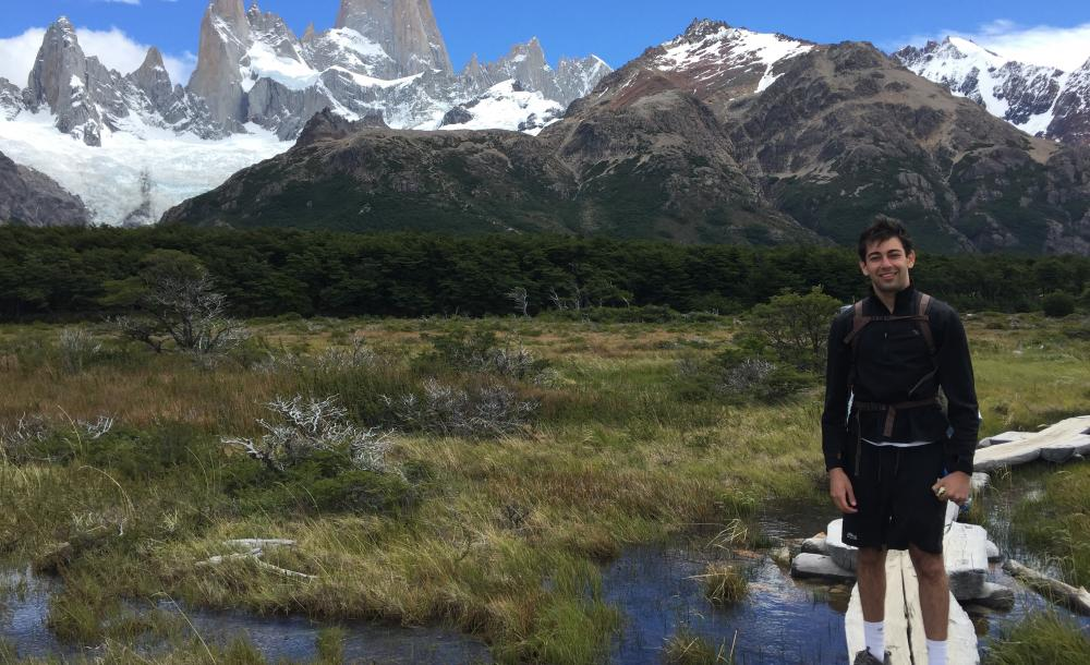 A boy hiking in Argentina
