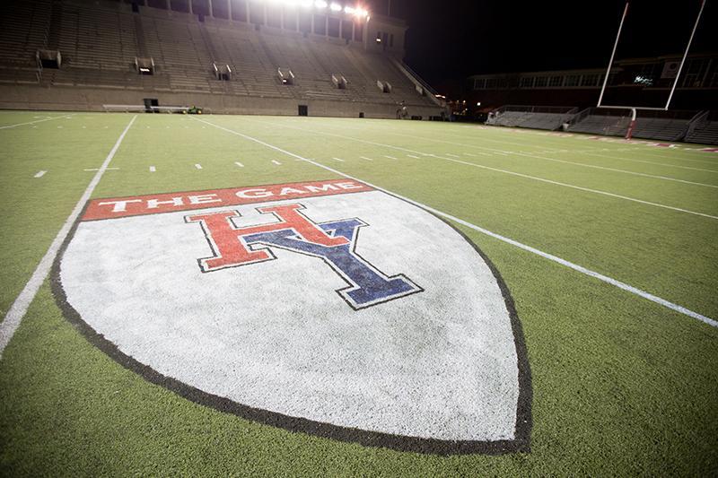 Shield on field of Harvard Yale