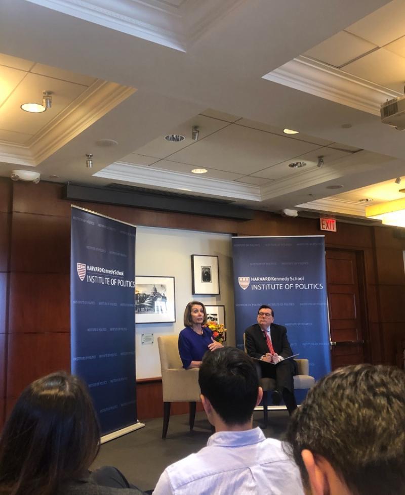 Nancy Pelosi speaking at the Institute of Politics in the Harvard Kennedy School