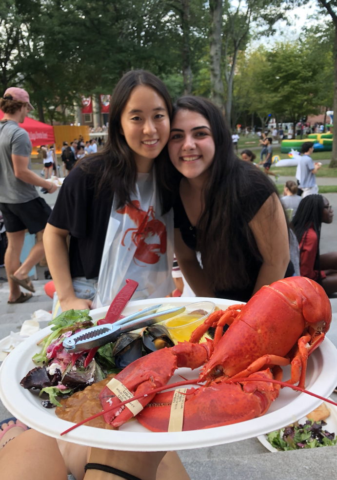 My roommate and I at an opening days lobster picnic