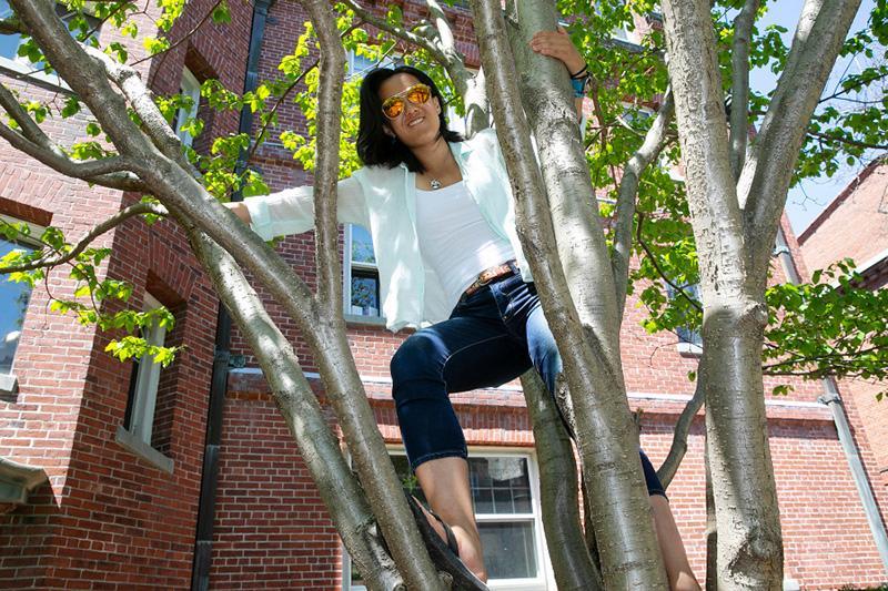 Liz Roux outside in tree
