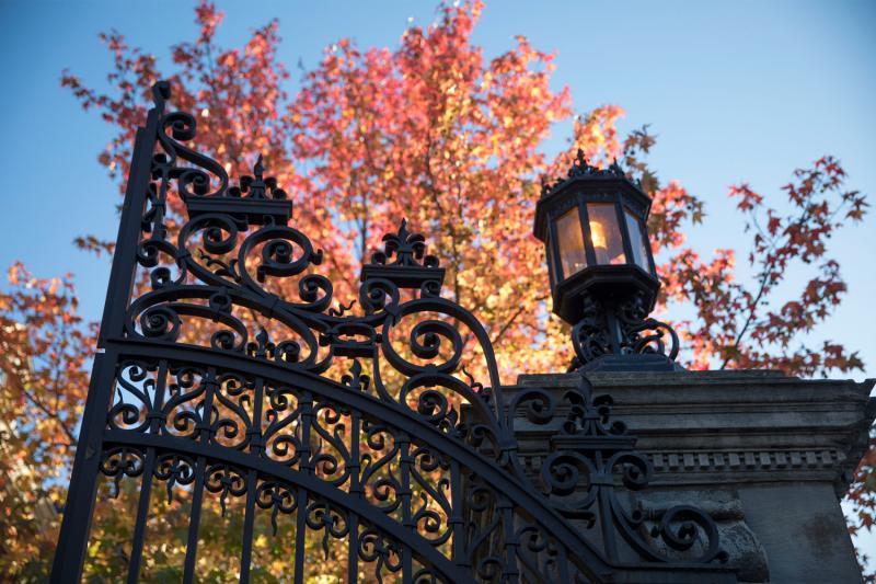 Close up of gates of Harvard Yard with fall foliage behind them