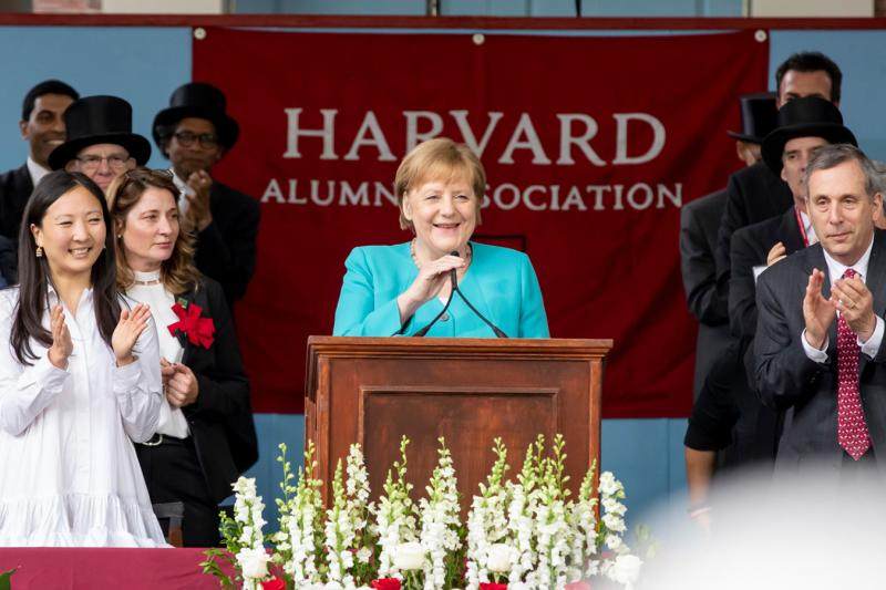 "Treasure our freedoms, German Chancellor Angela Merkel advised Harvard's 368th graduating class on Thursday. ""Our individual liberties are not givens. Democracy is not something we can take for granted,"" she told the crowd during Afternoon Program in Tercentenary Theatre. ""Neither is peace, and neither is prosperity."""
