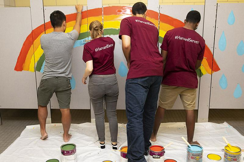 First-year students brighten up a bathroom at Winship Elementary School in Brighton during Harvard's Day of Service.