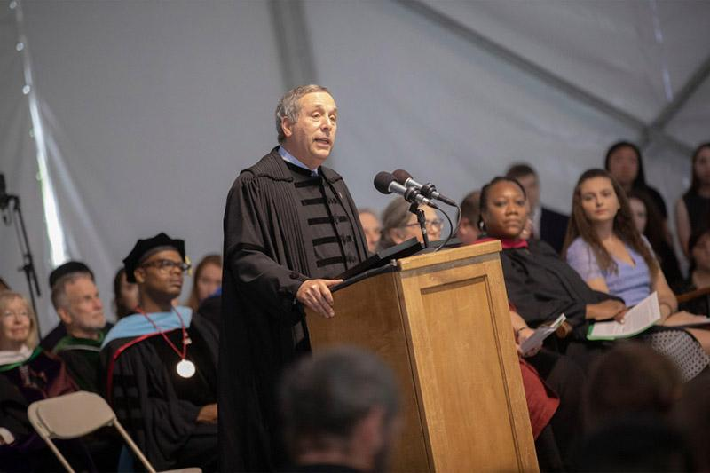 Presidents Bacow speaking to the first-year students at Convocation