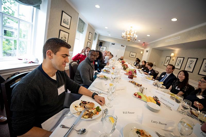 Will Penzer introduces himself at the Presidential Public Service Fellowship lunch held at the Faculty Club
