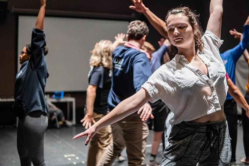 Emmaline Cook '20, who plays Graziella, rehearses choreography with the cast