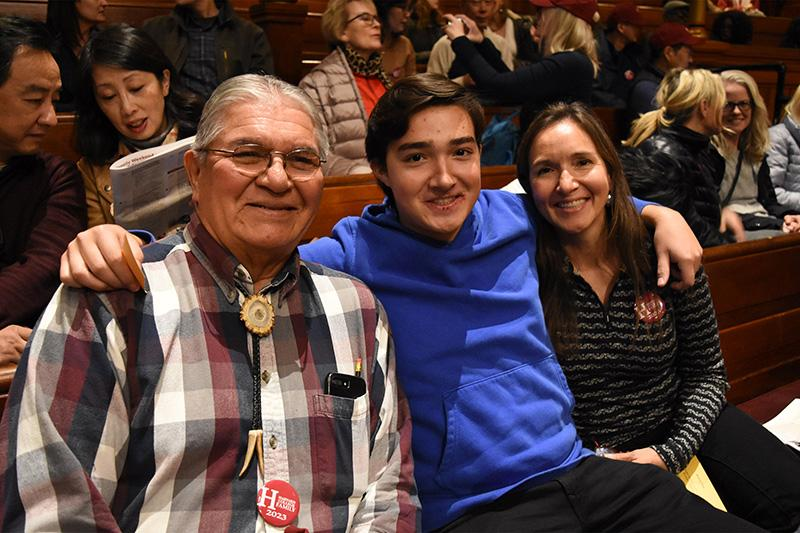 At First-Year Family Weekend, Nick Young '23 had his grandfather and mother with him at Sanders Theatre