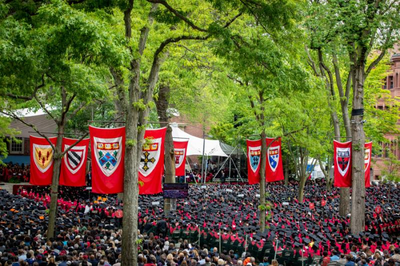 Tercentenary Theatre, in Harvard Yard, full of college graduates on the day of Commencement.