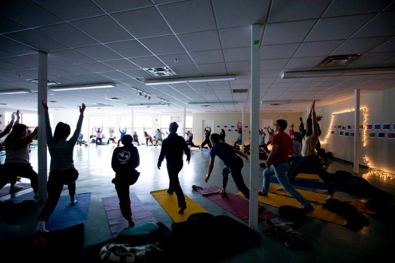 Students participate in a mindful movement and meditation session.