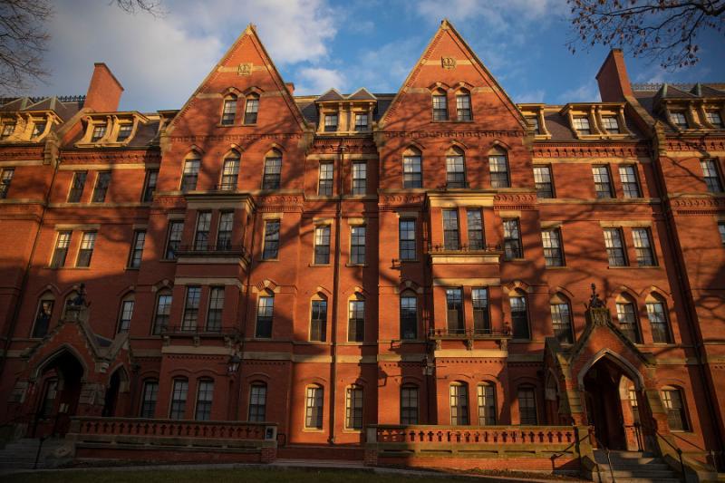 The brick exterior facade of a first-year dorm