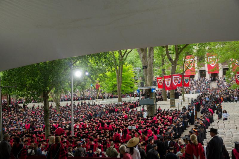 Harvard graduates gathered in the Tercentenary Theatre for the Commencement ceremony.