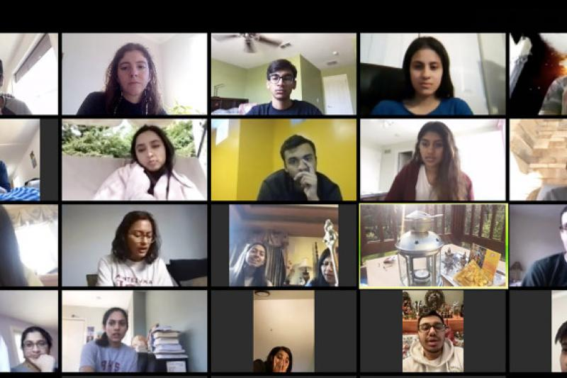 Members of Harvard Dharma continue to worship and socialize weekly, now through Zoom.