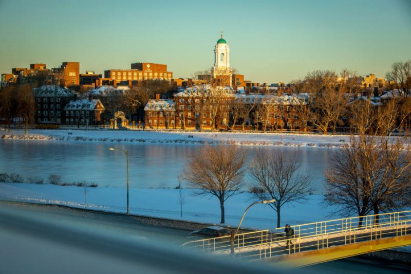 A view of the Charles River and Leverett House during the winter season.