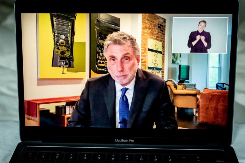 Washington Post executive editor Martin Baron spoke from his home during the online ceremony, Honoring the Class of 2020.
