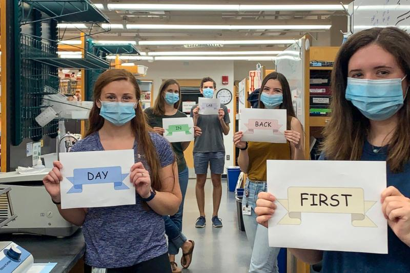 Harvard researchers take selfies on their first day back in the lab since the COVID-19 shutdown. The Manning Lab marks the occasion with coordinated signs.