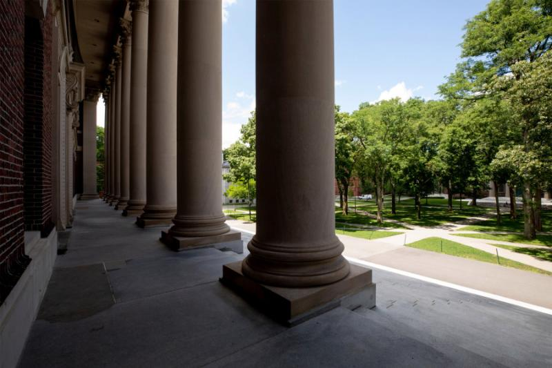 A view of Harvard Yard from the steps of Widener Library.