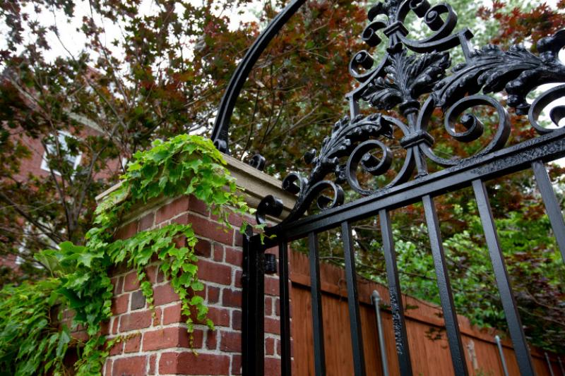 The gate by Standish Hall at Harvard University.