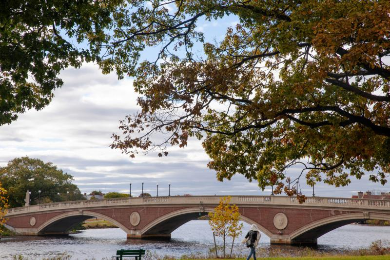 The Weeks Bridge crosses the Charles River, connecting Harvard's campuses.