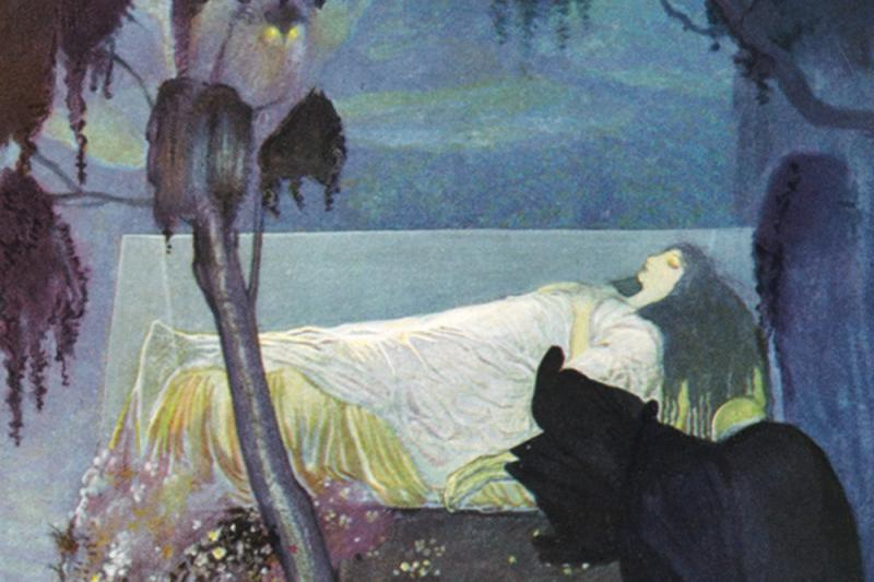 A 1923 illustration of Snow White resting in a glass coffin by Gustaf Tenggren, a Swedish American illustrator who worked as an animator for The Walt Disney Co. in the 1930s.