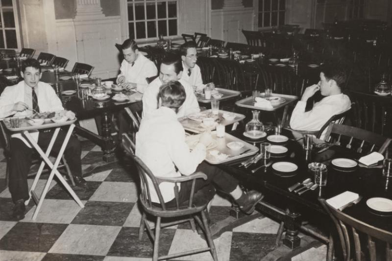 In this 1943 photo, student waiters are shown in the Lowell House dining room.
