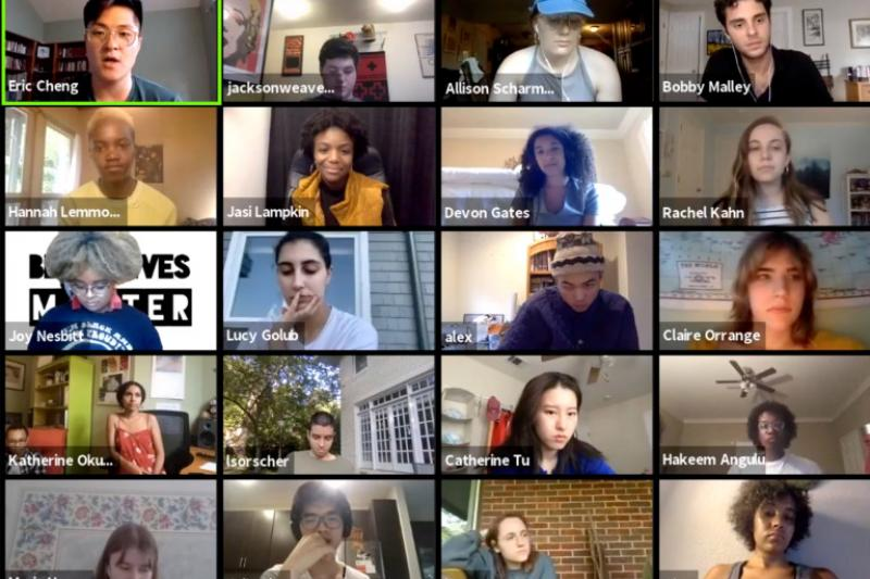 A group of students talking about art for justice on Zoom.