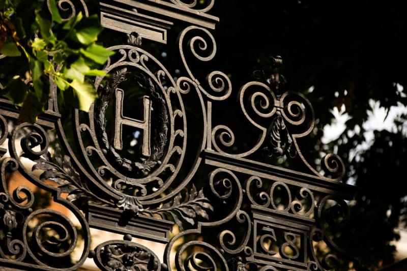 A photo of a Harvard gate.