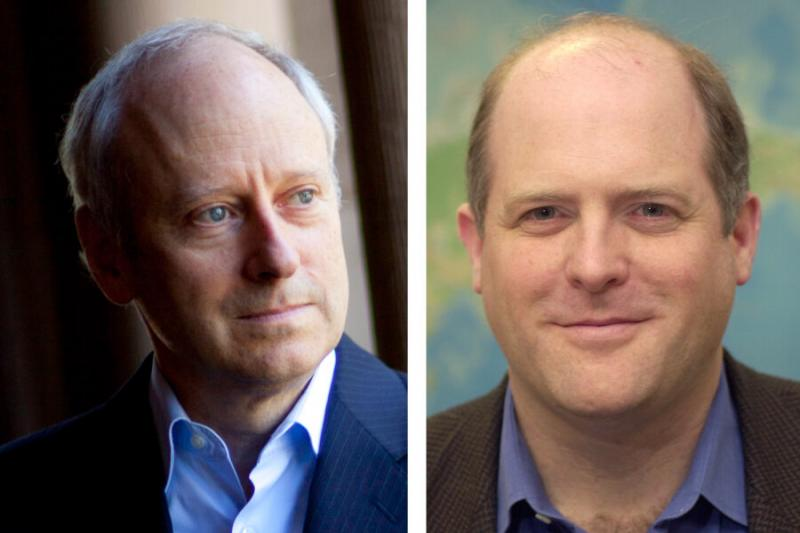 """Michael Sandel (left) and Daniel Schrag will teach two University-wide courses using their """"One Harvard, One Online Classroom"""" model."""