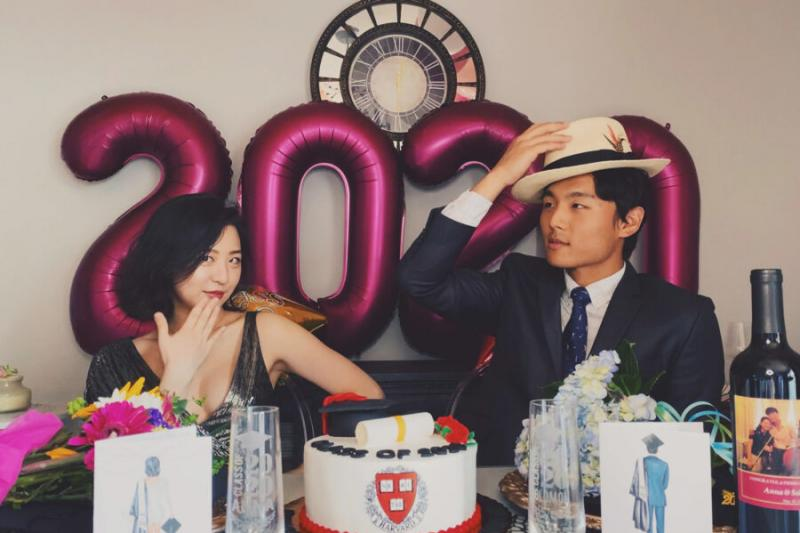 Anna and Myungin Lee celebrated their graduation with a party at home in New York.