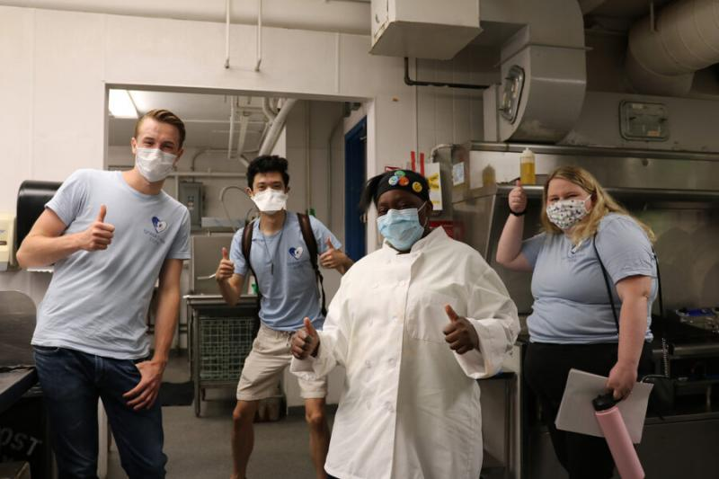 (From left) Connor Schoen, Tony Shu, Amina Johnson, and Laura Skinner. Johnson is one of Breaktime's first culinary associates and dreams of opening a bakery.