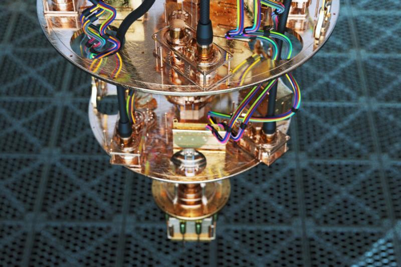 A close-up view of a quantum computer.