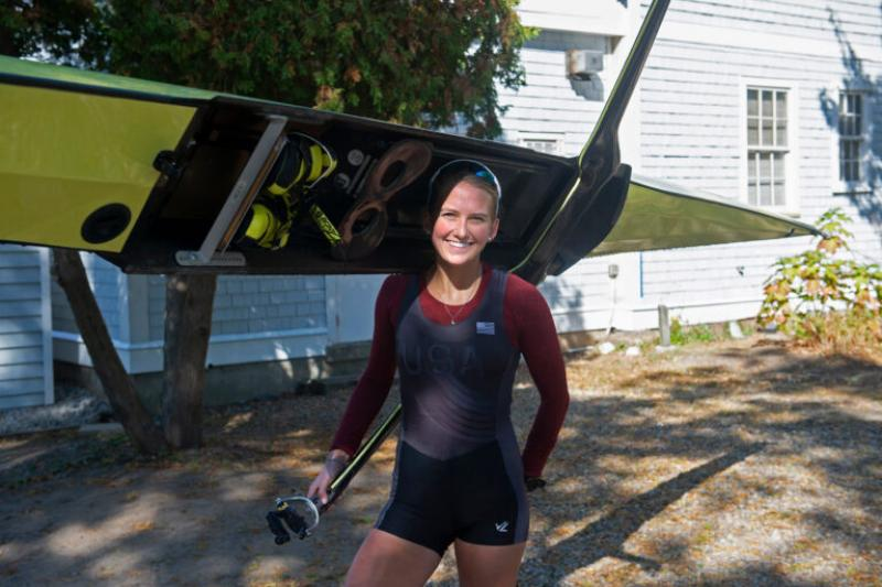 Brigid Kennedy '21 prepares for a practice row before her participation in the first-ever virtual Head of the Charles Regatta, which begins today.