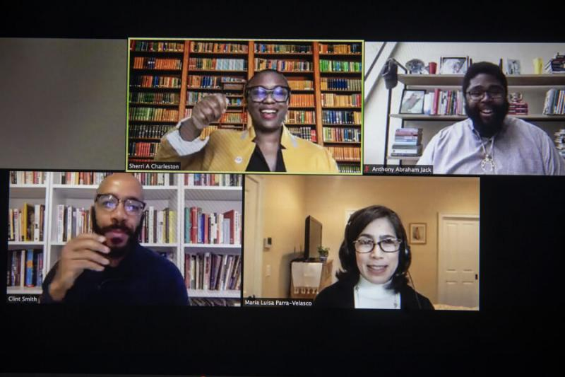 """During the HILT 2020 Conference """"Championing Equitable Instruction and Inclusive Classrooms."""" Panelists, Sherri Ann Charleston (from top left to right), Anthony Jack, María Luisa Parra, and Clint Smith speak during """"A Conversation on Inclusive Excellence."""""""
