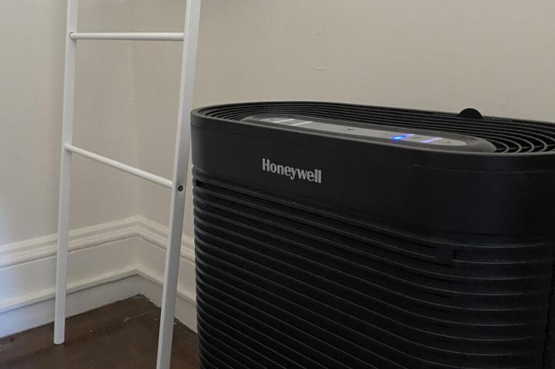"This Honeywell HEPA filter is in Charlotte Moses' Cabot House (Whitman Hall) dorm room. ""I keep it on the 'germ' or 'turbo' setting all day and all night,"" she said."