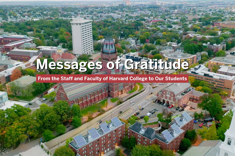 A video highlighting faculty and staff, who thank current Harvard students for their efforts to keep the Harvard community safe.