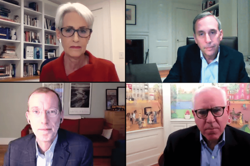 (Clockwise from top left): Wendy Sherman, Larry Bacow, David Rubenstein, and Doug Elmendorf in conversation about the role of leadership.