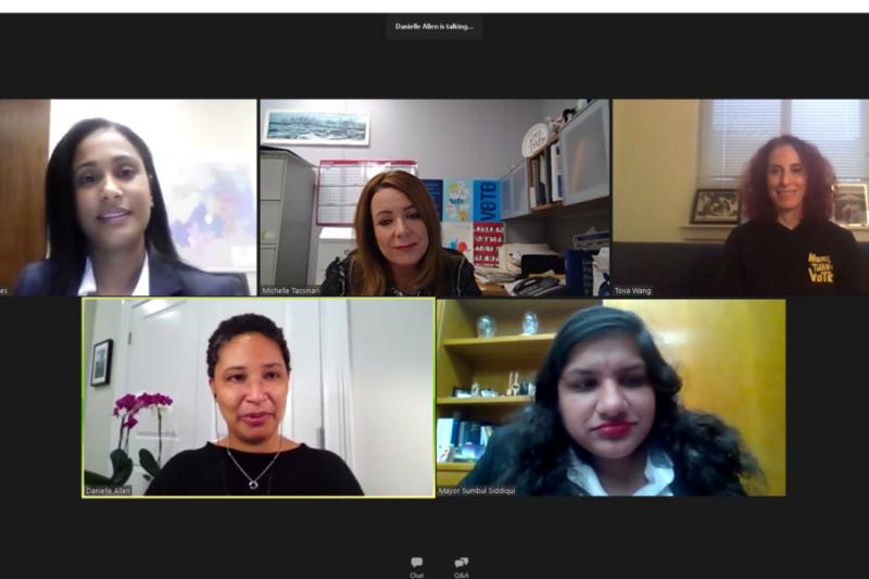 Eneida Tavares (clockwise from upper right), Michelle Tassinari, Tova Wang, Sumbul Siddiqui, and Danielle Allen.