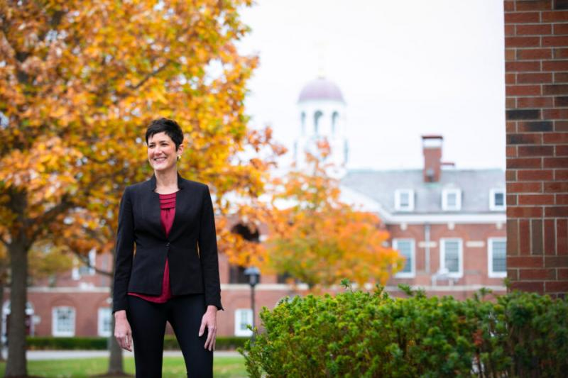 Erin McDermott, the John D. Nichols '53 Family Director of Athletics, is pictured near the Murr Athletics Center at Harvard University.