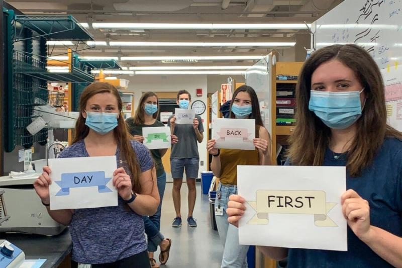 Manning Lab members celebrate their first day back in the lab in June 2020.