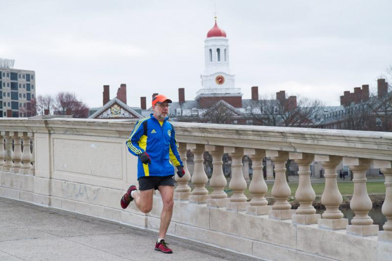 """When I get up in the morning to go running, it's often cold and miserable, and I have no desire to exercise. I sometimes have to force myself out the door, "" says Daniel E. Lieberman, pictured during a pre-pandemic run."