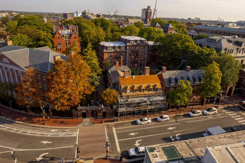 A bird's-eye view of campus along Massachusetts Avenue.
