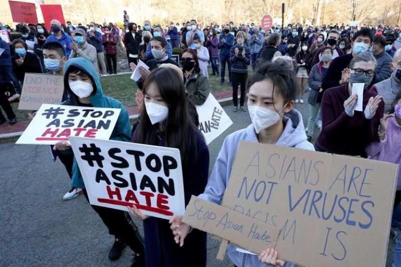 Protesters during a rally held to support Stop Asian Hate in Newton, Mass., on March 21.
