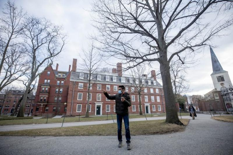 Neil Khurana '22 (pictured) and first-year Zev Minsky-Primus were paired up to navigate the Yard without the use of modern instruments. Their first challenge was determining which direction was west.
