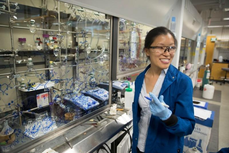 Christina Woo works in her Lab in the Conant Building.
