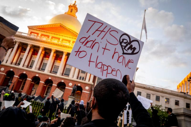 Following the death of George Floyd, protesters gathered in front of the State House in Boston.