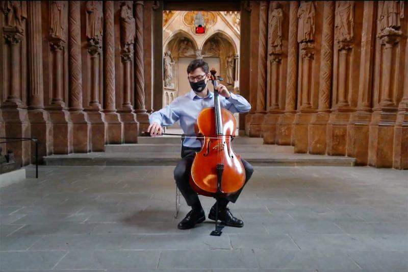 Cellist Camden Archambeau '23 performs Sonata for Solo Cello by Zoltán Kodály in Adolphus Busch Hall.
