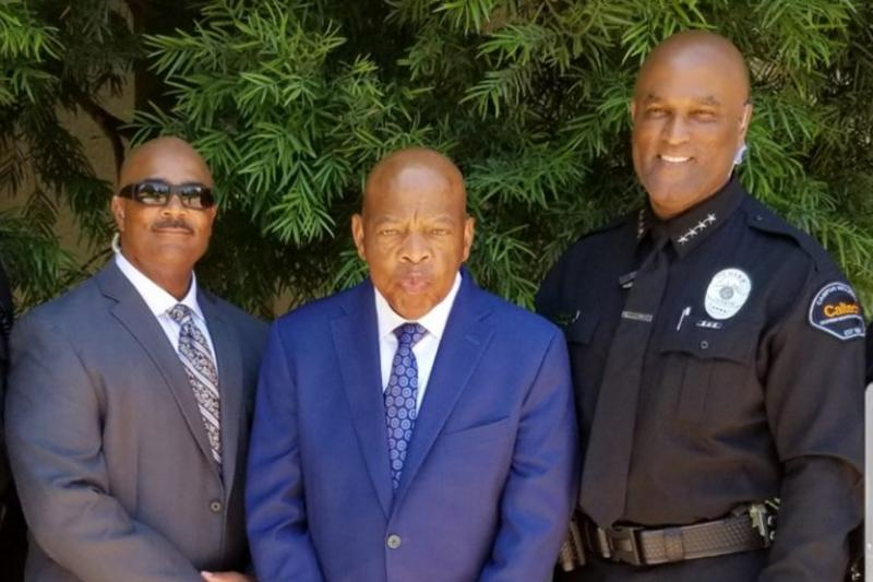 Victor Clay (far right) with Rep. John Lewis and Gregory Powell, Clay's second-in-command at Caltech. Lewis spoke at Caltech's 2018 commencement.