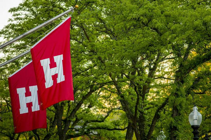 Crimson flag with the letter H